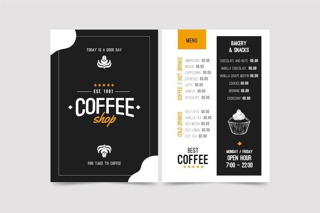 Szablon Menu Koncepcja Kawy Premium Wektorów