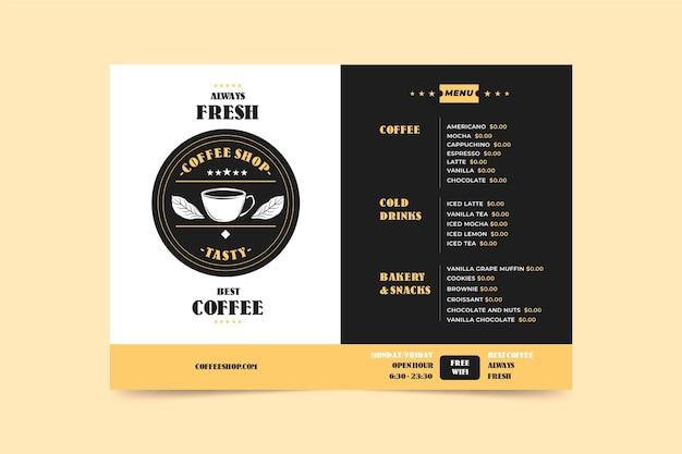 Szablon Menu Koncepcja Kawy Darmowych Wektorów