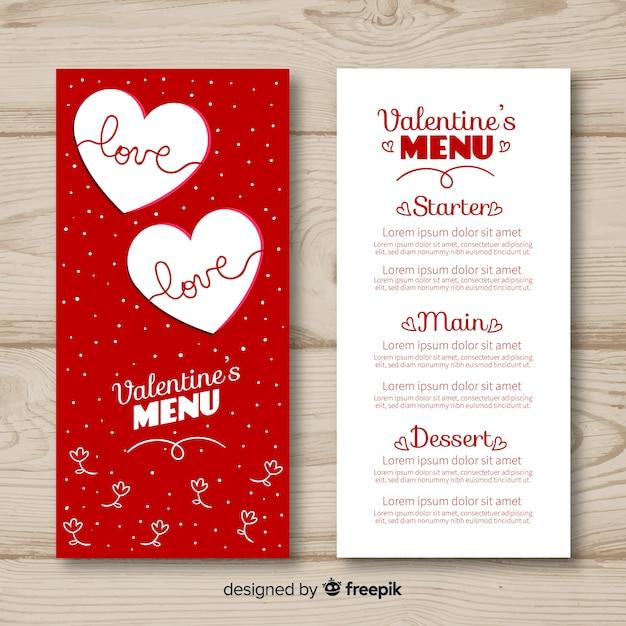 Szablon menu kropkowane valentine Darmowych Wektorów