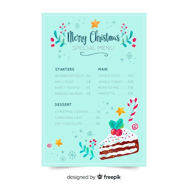 Szablon menu na boże narodzenie w restauracji Darmowych Wektorów