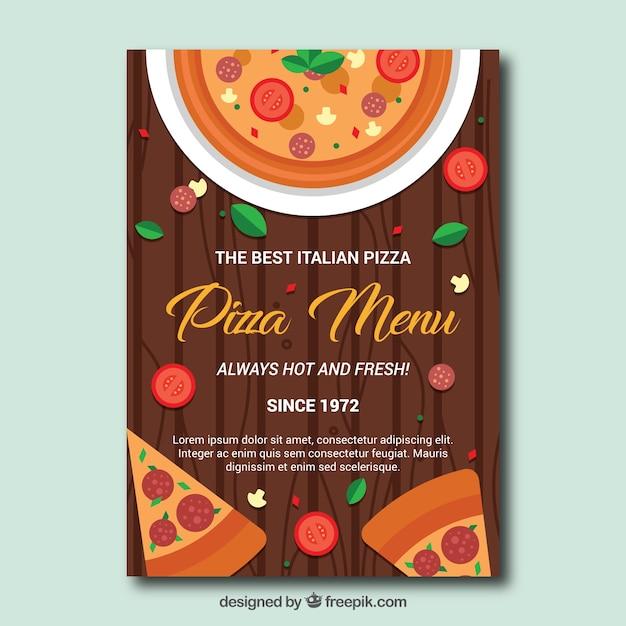 Szablon Menu Pizza W Płaskim Stylu Darmowych Wektorów