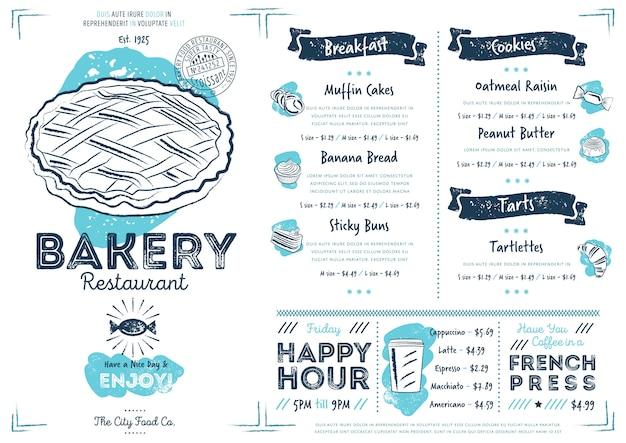 Szablon menu restauracji kawiarnia piekarnia Premium Wektorów