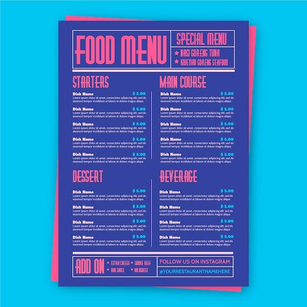 Szablon menu restauracji kolorowe jedzenie Darmowych Wektorów