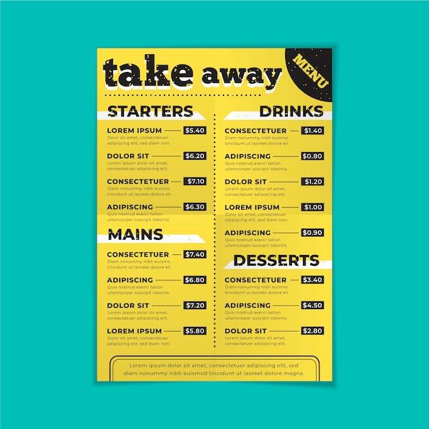 Szablon menu restauracji na wynos Darmowych Wektorów