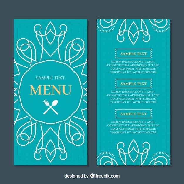 Szablon menu restauracji płaski w kolorze turkusowym Darmowych Wektorów