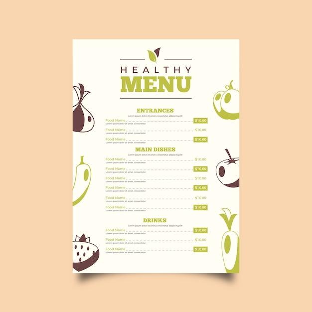 Szablon Menu Restauracji Vintage Zdrowej żywności Darmowych Wektorów