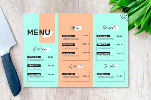 Szablon menu restauracji w dwóch kolorach Darmowych Wektorów