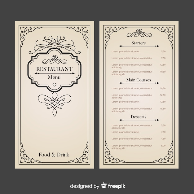 Szablon menu restauracji z eleganckimi ornamentami Darmowych Wektorów