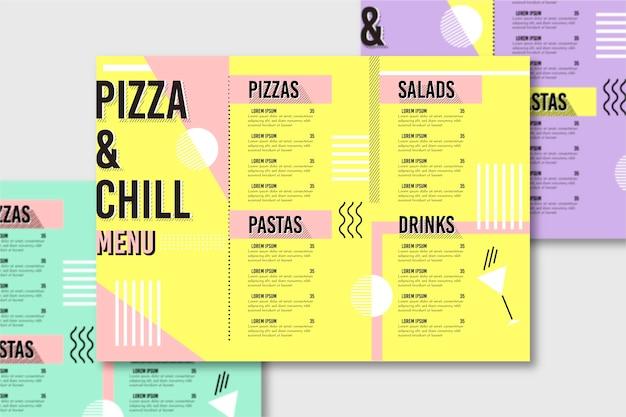 Szablon menu restauracji z pizzą Darmowych Wektorów