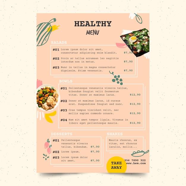 Szablon Menu Restauracji Zdrowe Jedzenie Darmowych Wektorów