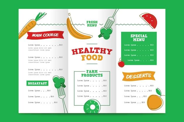Szablon Menu Restauracji Zdrowej żywności Darmowych Wektorów