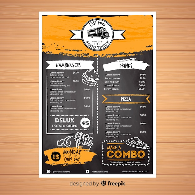 Szablon menu restauracji ze stylu tablicy Darmowych Wektorów
