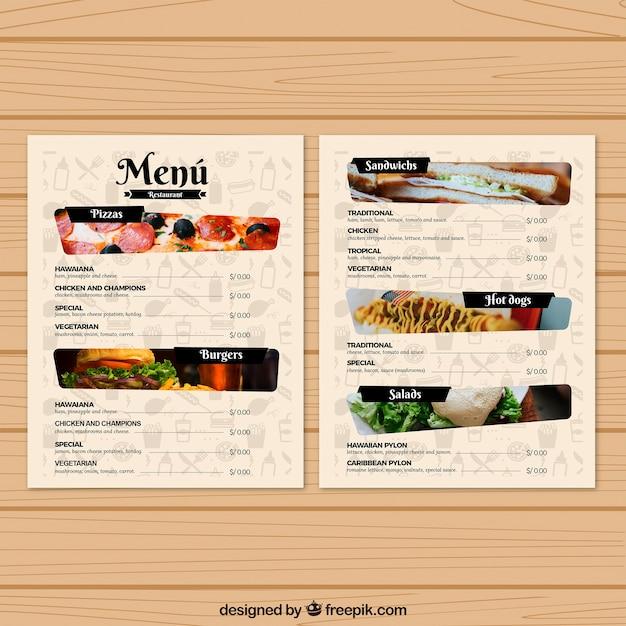 Szablon menu restauracji ze zdjęciami Darmowych Wektorów