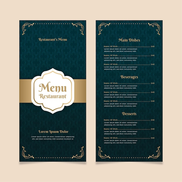 Szablon Menu Restauracji Złoty Z Niebieskim Darmowych Wektorów