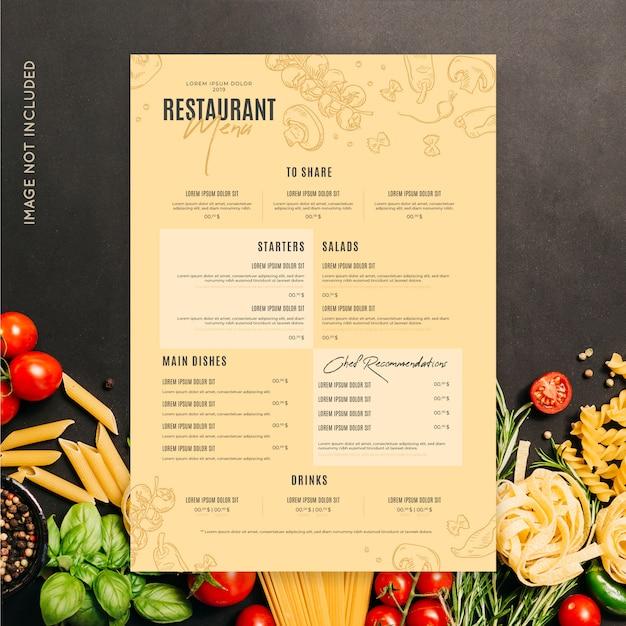 Szablon menu restauracji Darmowych Wektorów