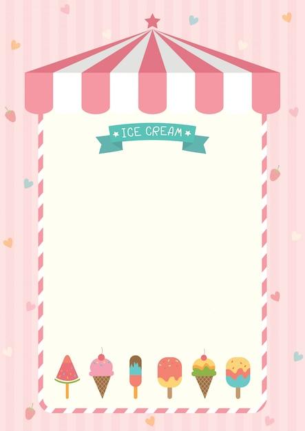 Szablon menu słodkie lody Premium Wektorów