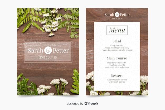 Szablon menu ślubu ze zdjęciem Darmowych Wektorów