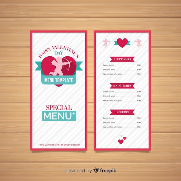 Szablon menu sylwetka valentine amorek Darmowych Wektorów