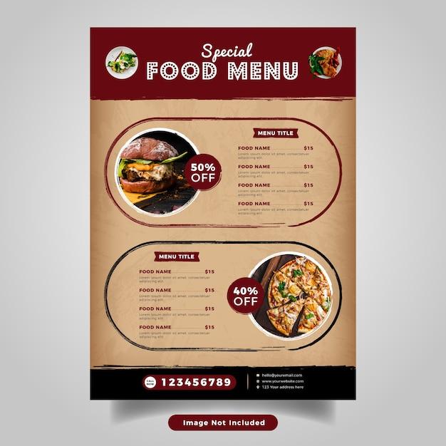 Szablon Menu Ulotki żywności. Vintage Menu Fast Food Dla Restauracji Premium Wektorów