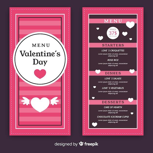 Szablon menu valentine paski Darmowych Wektorów