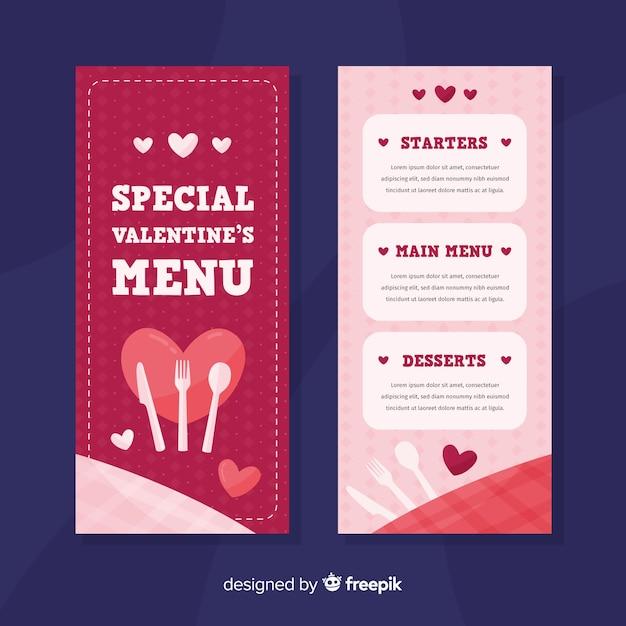 Szablon menu valentine sztućce płaskie Darmowych Wektorów