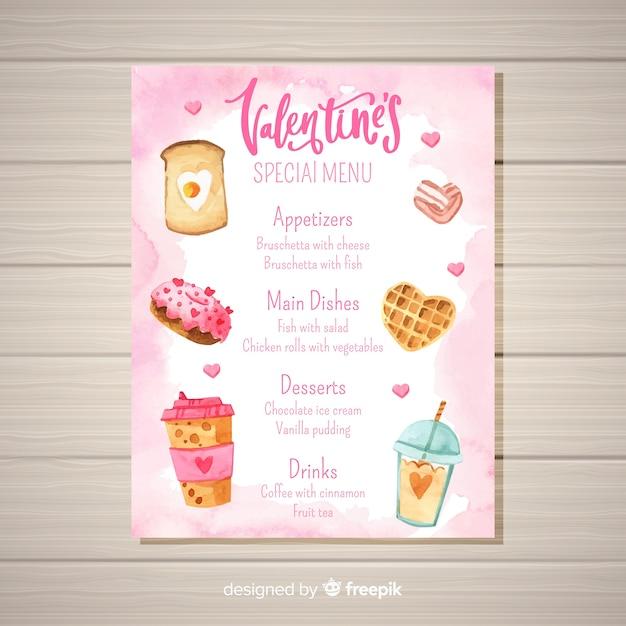 Szablon menu valentine żywności akwarela Darmowych Wektorów