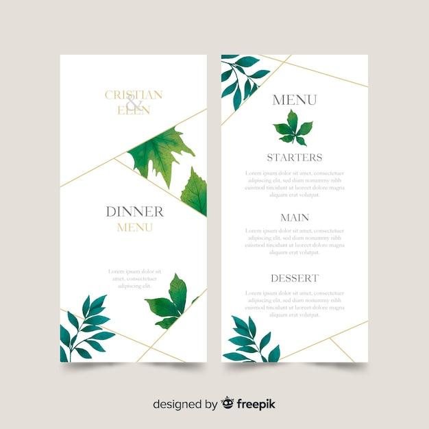Szablon menu wesele natura akwarela Darmowych Wektorów