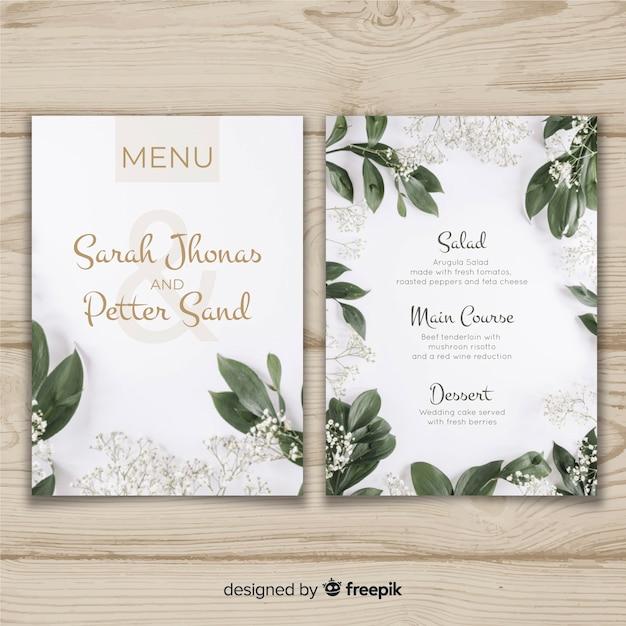 Szablon menu weselne Darmowych Wektorów