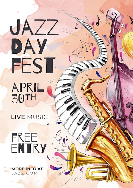 Szablon Międzynarodowego Dnia Jazzu Darmowych Wektorów