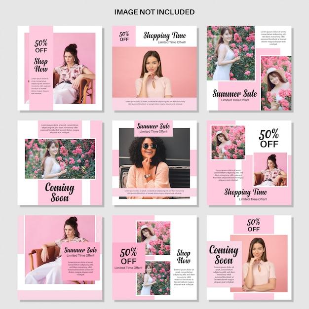 Szablon moda różowy media społecznościowe post Premium Wektorów