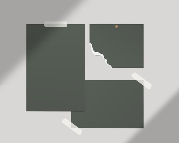 Szablon Moodboard. Puste Arkusze Białego Papieru Na ścianie. Projekt Szablonu Realistyczna Ilustracja. Premium Wektorów