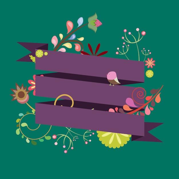 Szablon Na Zaproszenie, Pocztówka, Logo Z Wstążkami I Kwiatami Premium Wektorów