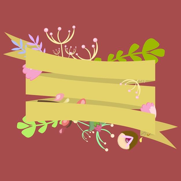 Szablon Na Zaproszenie, Pocztówka Z Wstążkami I Ozdobnymi Elementami Kwiatowymi Premium Wektorów