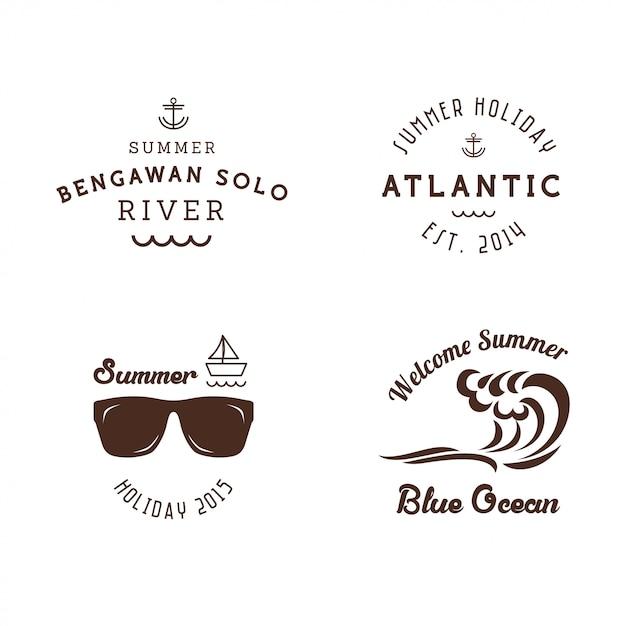 Szablon naklejki retro lato odznaki Premium Wektorów