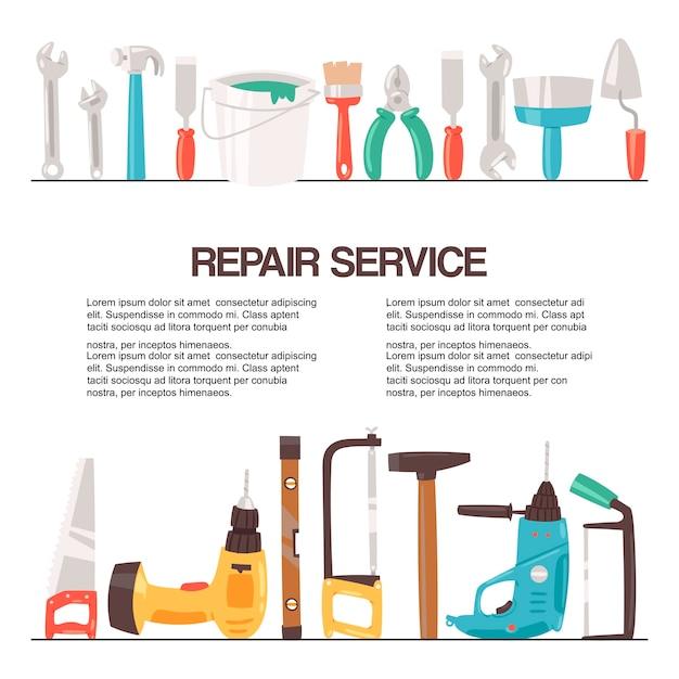 Szablon narzędzia do naprawy serwisowej Premium Wektorów