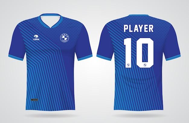 Szablon Niebieskiej Koszulki Sportowej Do Strojów Drużynowych I Koszulki Piłkarskiej Premium Wektorów