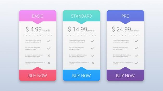 Szablon nowoczesne kolorowe plany cen Premium Wektorów