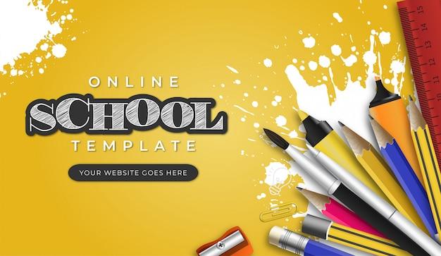 Szablon Nowoczesnej Szkoły Online Z Obiektami Szkolnymi Darmowych Wektorów