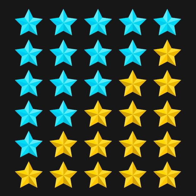 Szablon Oceny W Postaci Gwiazdek Z Kolorowymi Gwiazdkami. Koncepcje Jakości Produktu Lub Usługi. Ocena Gwiazdek Na Czarnym Tle. Ilustracja. Premium Wektorów