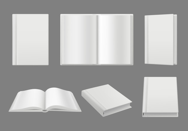 Szablon Okładki Książki. Czyste Białe Strony 3d Na Białym Tle Realistyczny Makieta Brochuremagazine Premium Wektorów