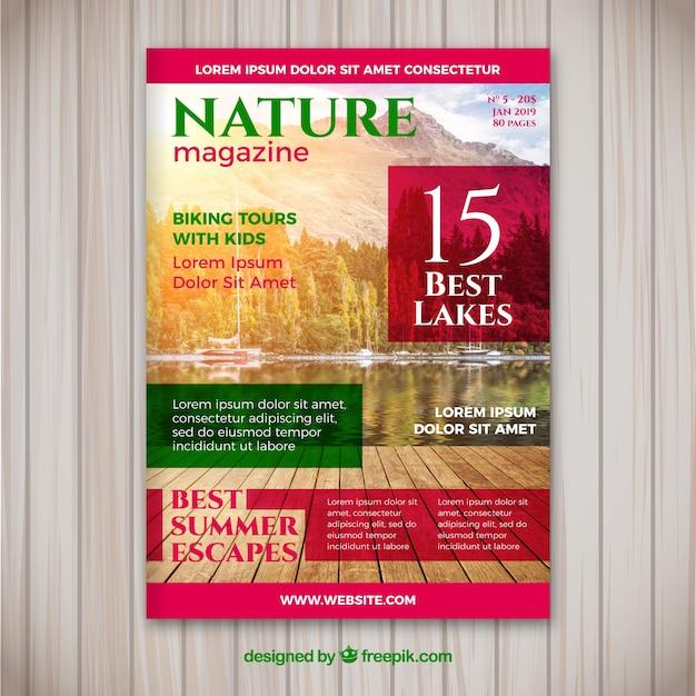 Szablon Okładki Magazynu Nature Ze Zdjęciem Darmowych Wektorów