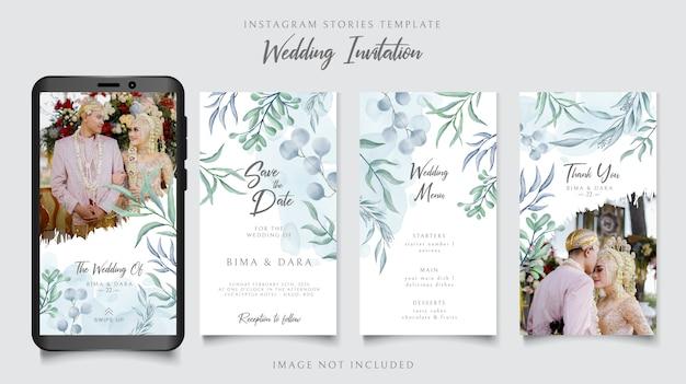 Szablon Opowiadań Instagram Na Zaproszenie Na ślub Z Kwiatowym Tłem Premium Wektorów