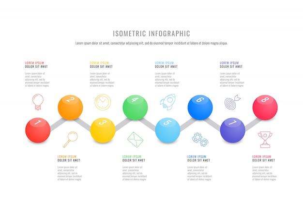 Szablon osi czasu izometryczny infographic z realistycznymi 3d okrągłych elementów Premium Wektorów