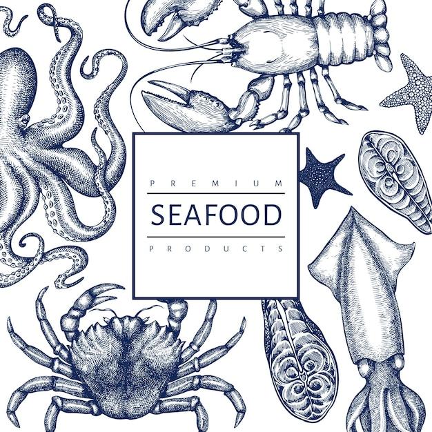 Szablon Owoce Morza. Ręcznie Rysowane Ilustracja Owoce Morza. Jedzenie W Stylu Grawerowanym. Tło Retro Zwierząt Morskich Premium Wektorów