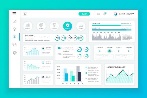 Szablon panelu administracyjnego pulpitu z elementami infografiki Premium Wektorów