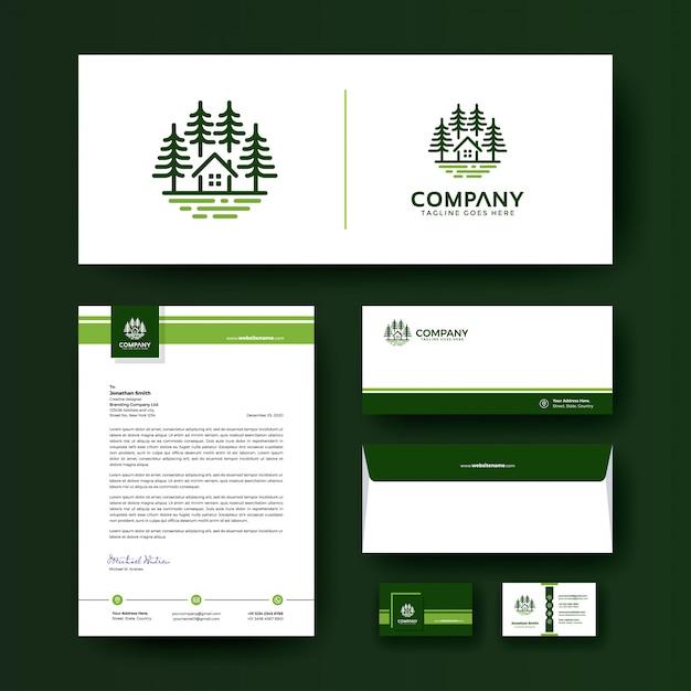 Szablon papeterii korporacyjnych z logo Premium Wektorów