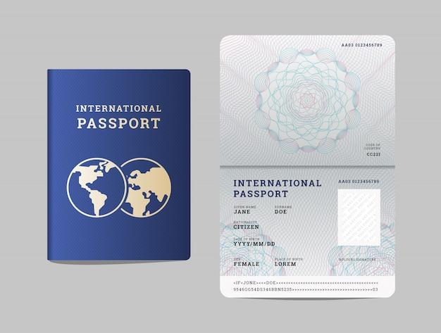 Szablon Paszportu Międzynarodowego Z Otwartą Stroną Premium Wektorów