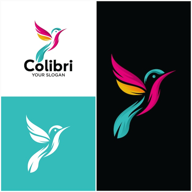 Szablon Piękny Prosty Ptak Colibri Logo Premium Wektorów
