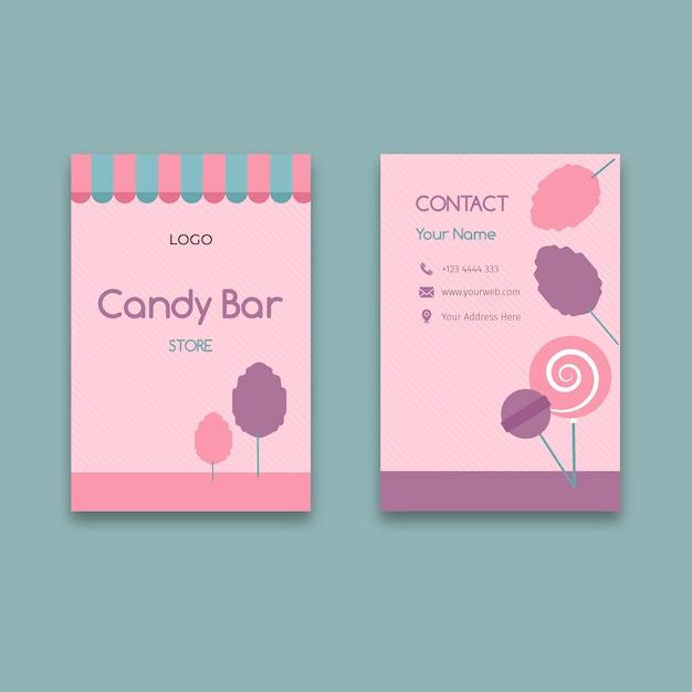 Szablon Pionowej Wizytówki Firmy Różowy Cukierek Premium Wektorów