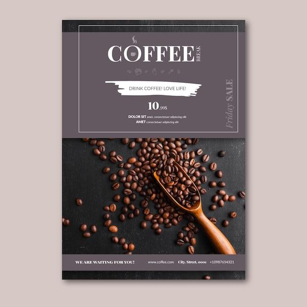 Szablon Pionowy Ulotki Kawy Darmowych Wektorów